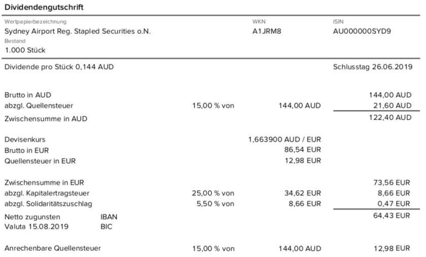 Originalabrechnung Dividendenzahlung Sydney Airport Teil 1 im August 2019