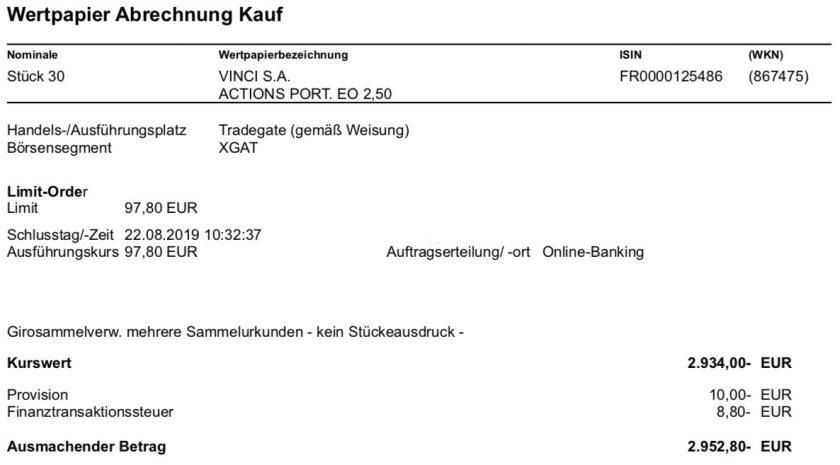 Originalabrechnung Kauf VINCI Aktien im August 2019
