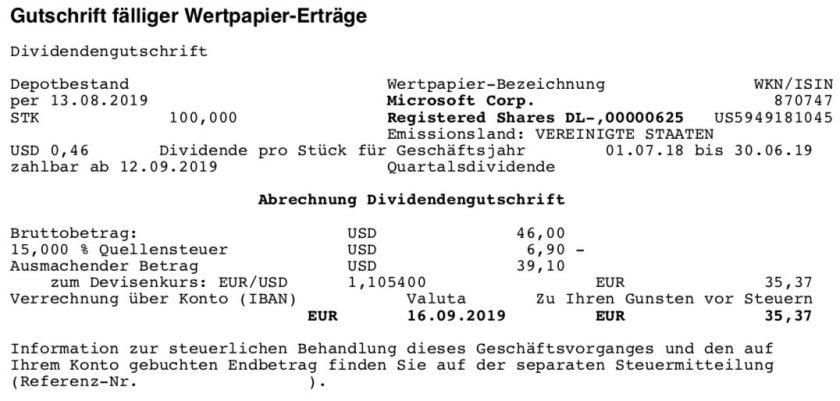 Originalabrechnung Dividendenzahlung Microsoft im September 2019