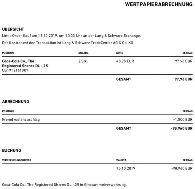 Originalabrechnung Kauf Coca-Cola Aktien im Oktober 2019