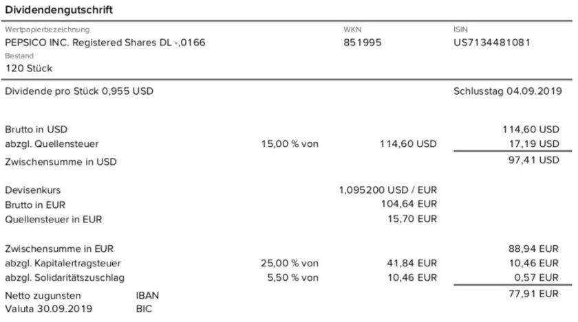 Originalabrechnung PepsiCo-Dividende im September 2019