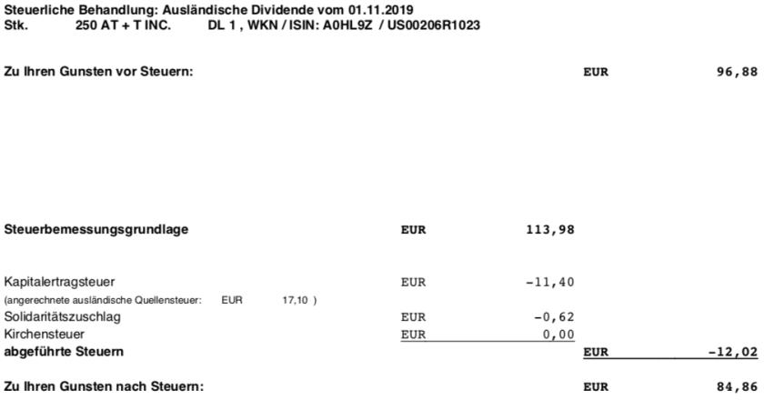 Originaldividendenabrechnung Steuer AT&T November 2019