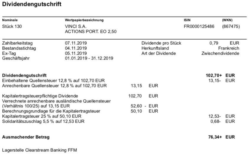 Originalabrechnung VINCI-Dividende im November 2019