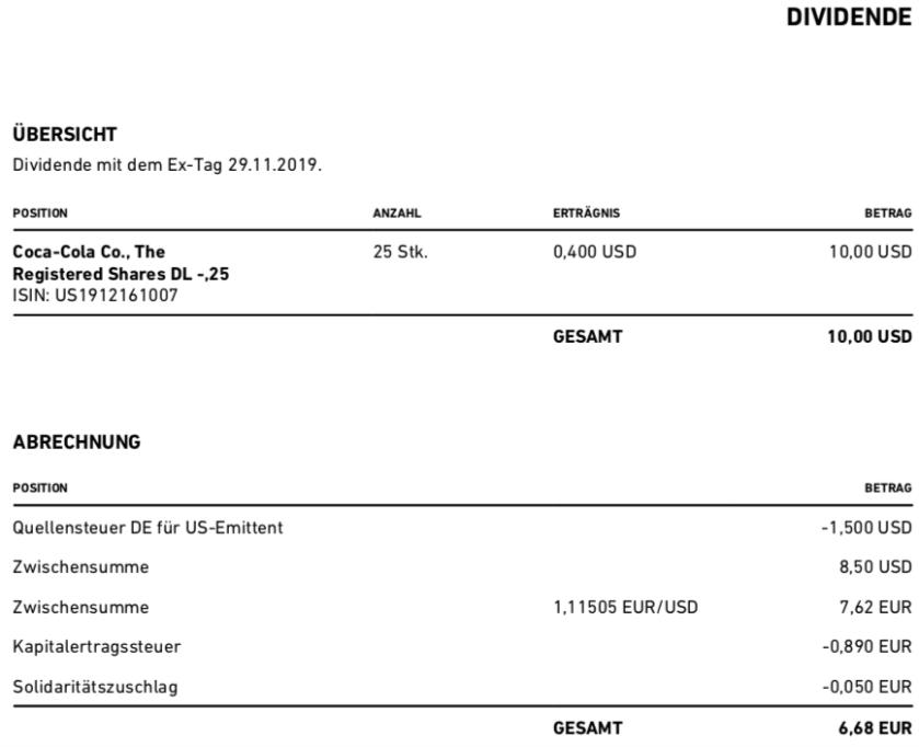 Originaldividendenabrechnung Coca-Cola im Dezember 2019