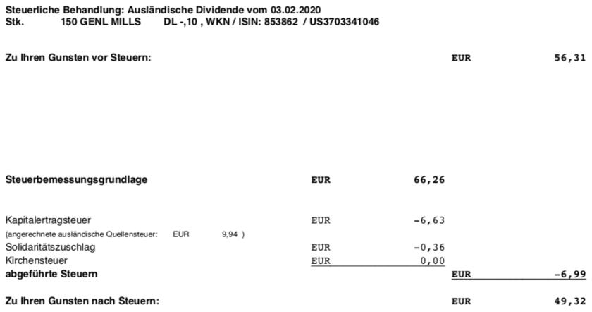 Original-Dividendenabrechnung General Mills Steuern im Februar 2020