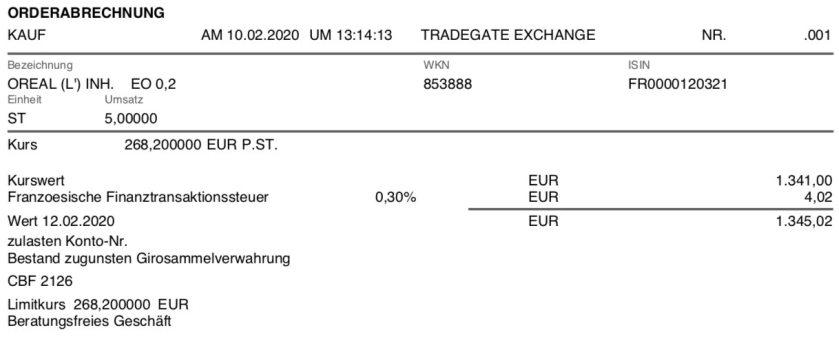 Kaufabrechnung L'Oreal im Februar 2020