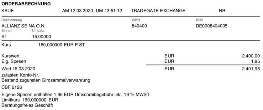 Kaufbeleg Allianz Aktien im März 2020