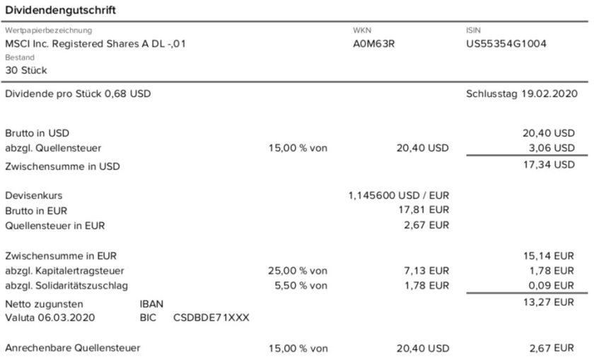 Dividendenabrechnung MSCI Inc. im März 2020