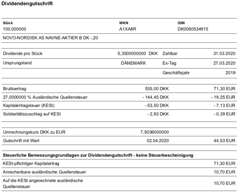 Dividendengutschrift Novo Nordisk im März 2020