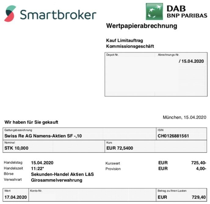 Wertpapierabrechnung Kauf Swiss Re im April 2020