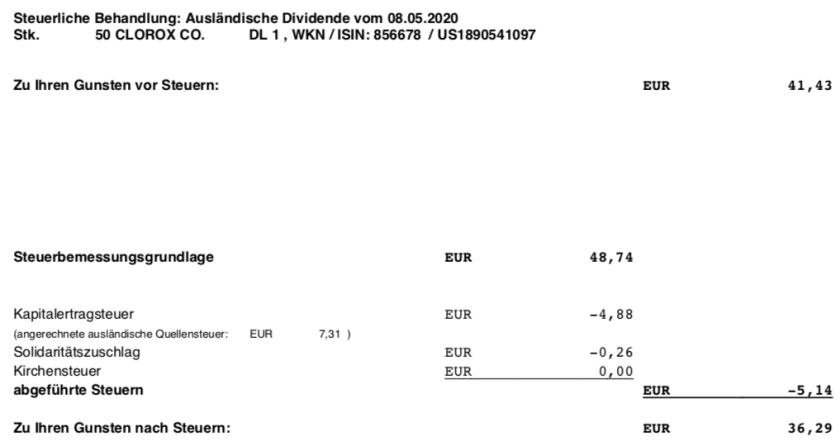 Dividendengutschrift Clorox im Mai 2020 Steuer