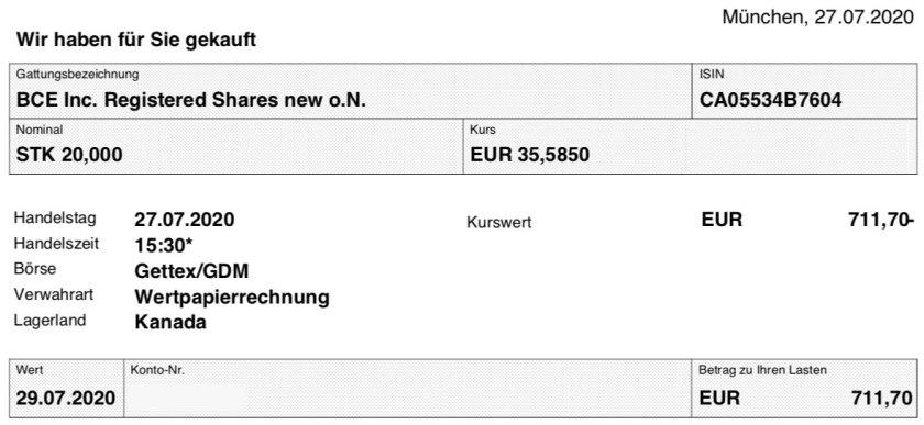 BCE Kaufabrechnung Aktien im Juli 2020