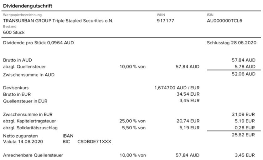 Dividendengutschrift Transurban Group im August 2020 mit 10% Quellensteuer