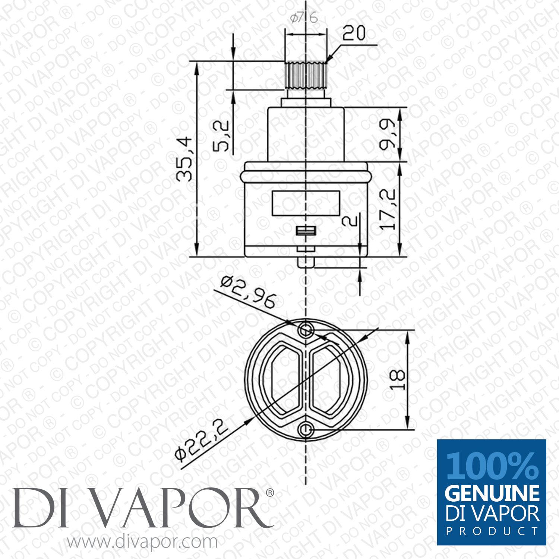 22mm Shower Diverter Cartridge 2 Functions Bar Cart France Cartridges Vernet