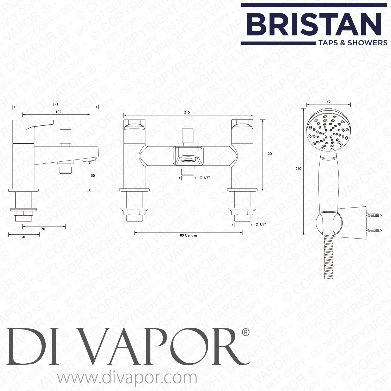 Bristan Deck Mounted Tap With Shower Hose Amp Hanset