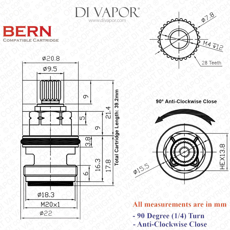 Franke Bern Sp Tap Valve Cartridge Spare 133 053