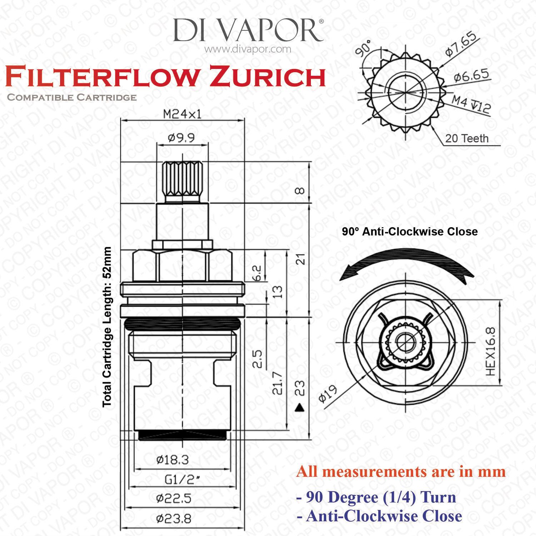 Franke Filterflow Zurich Sp H Kitchen Tap Valve Cartridge 133 191