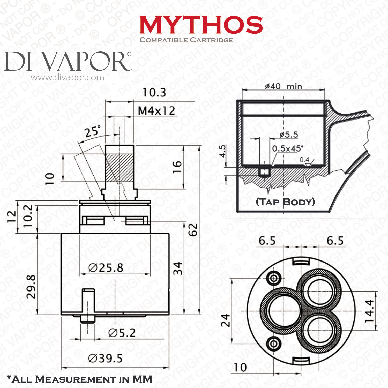 Franke Mythos 40mm Single Lever Ceramic Tap Cartridge 133