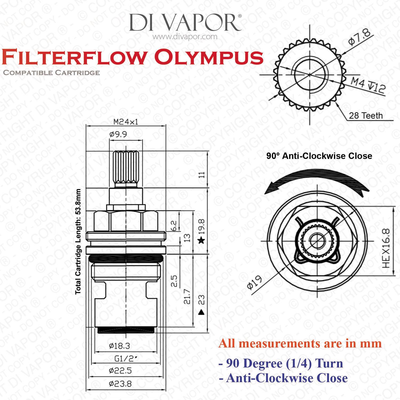 Franke Filterflow Olympus Hot Valve 133 365 R H