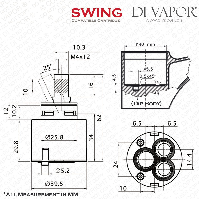 Franke Swing Spray 40mm Single Lever Ceramic Kitchen Tap Cartridge