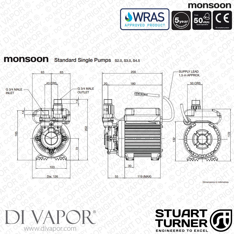 Stuart Turner Monsoon Standard 3 0 Bar Single Water