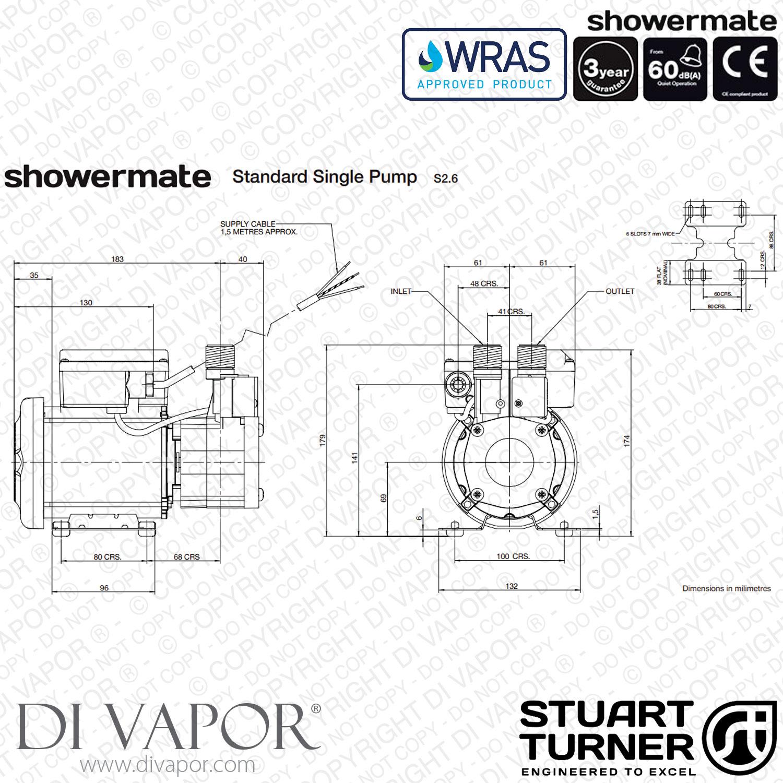 Stuart Turner Showermate Standard 2 6 Bar Single