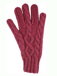 Cable Gloves, classic style, Burgundy, Alpaca Blend, winter Mittens for the whole family