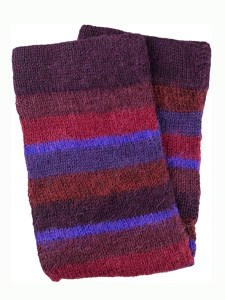 Multi Stripe Leg Warmer 100% Alpaca, Burgundy, Winter accessories for the whole family