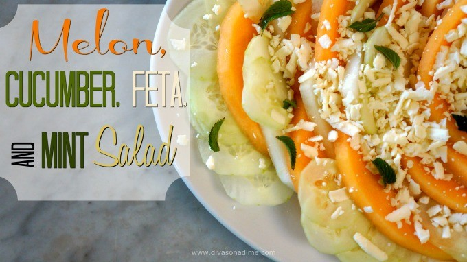 Peak season melons and cool cucumber pair with salty, creamy feta cheese and mint to make one irresistible salad.