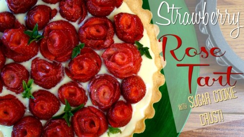 OMG! Look at this tart! A sugar cookie crust filled with rich vanilla custard, topped with strawberry roses. And it tastes even better than it looks.