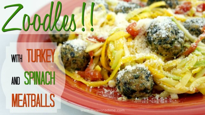 Zucchini noodles AKA Zoodles and delicious, light meatballs with turkey, spinach, garlic and parmesan. I can't wait to make this again!