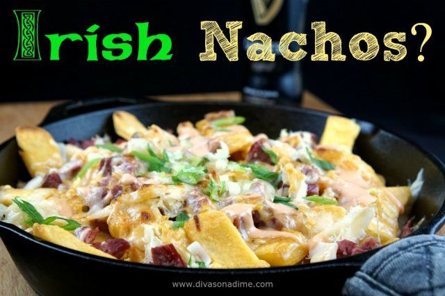 Best Bar snack EVER made easy at home! Irish Nachos with delicious Guinness Cheddar Cheese sauce to top it all! Make it next game day!