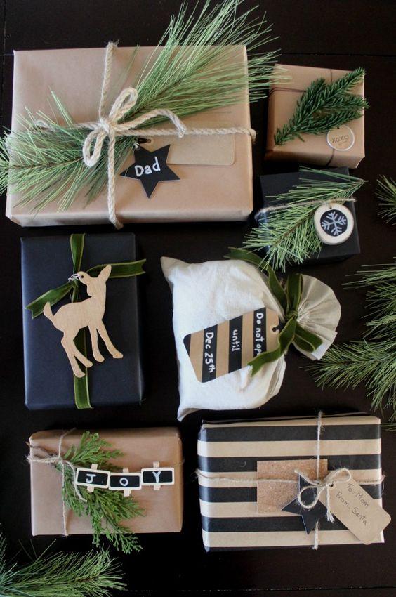 Idee per pacchetti regalo di Natale stile boho