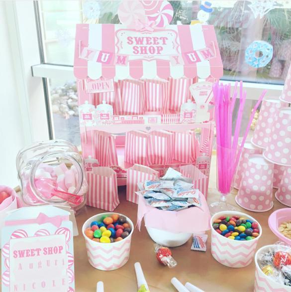 Compleanno tema rosa a righe e pois