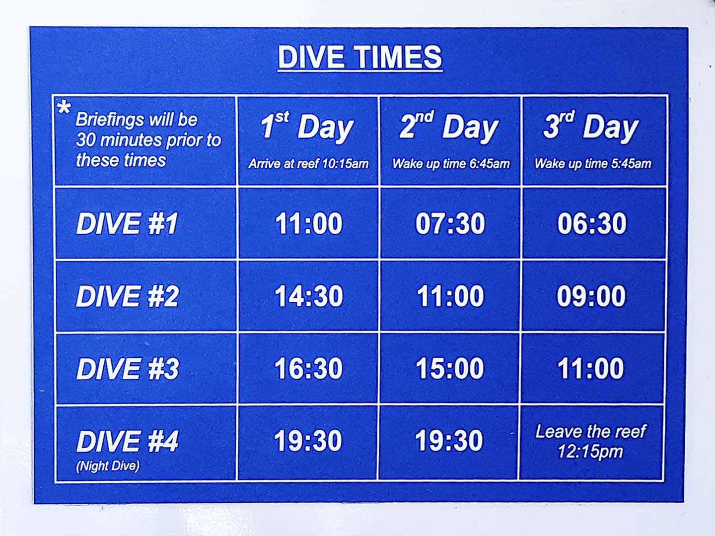 Scuba Diving in the Great Barrier Reef Pro Dive Cairns Schedule