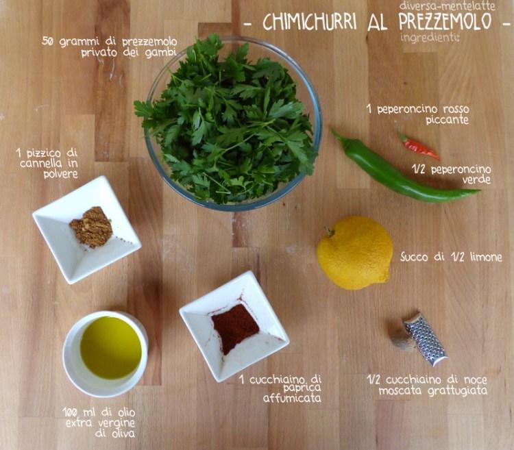 Ingredienti chimichurri al prezzemolo