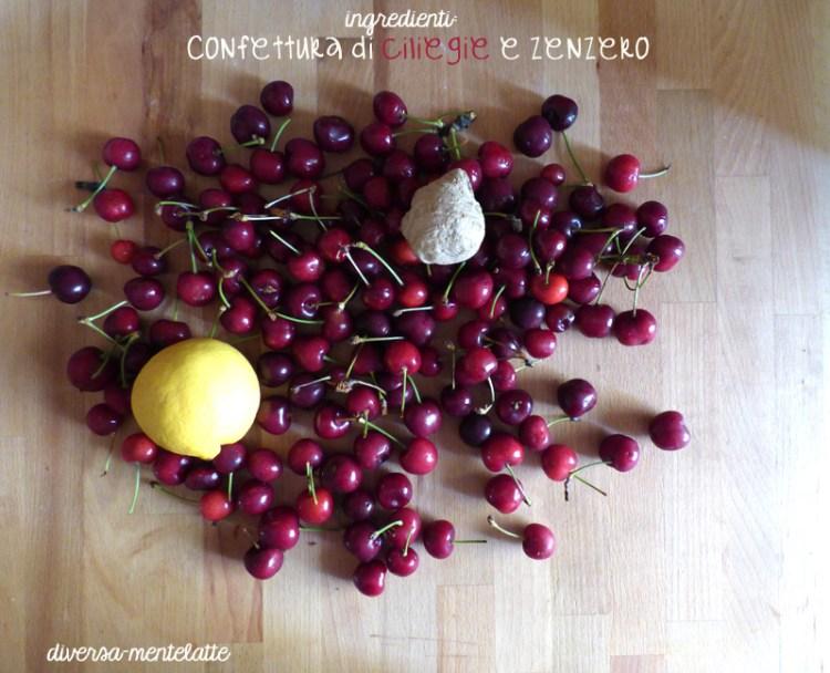 Ingredieti confettura di ciliegie e zenzero