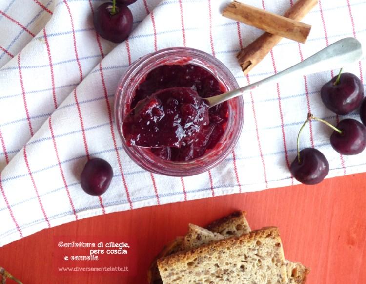 confettura di ciliegie, pere coscia e cannella