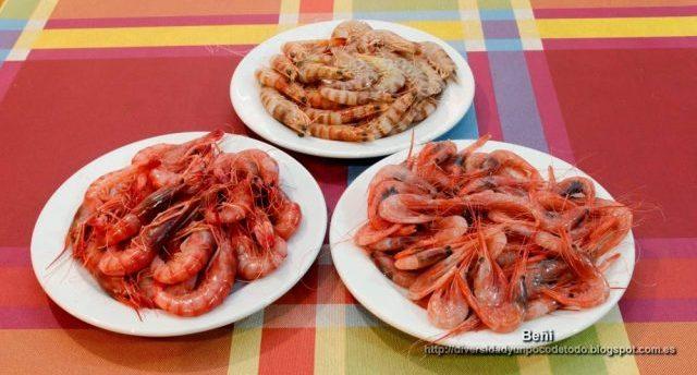 mariscos cocidos: langostinos, gamba roja y quisquilla