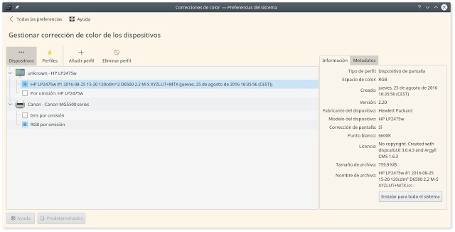 Gestion de color en kde plasma 5