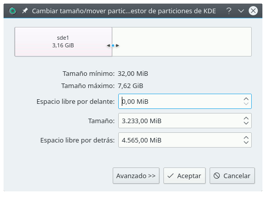 kde partition manager-redimensionar una particion