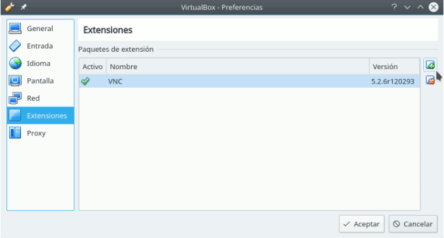 instalar extension pack en virtualbox