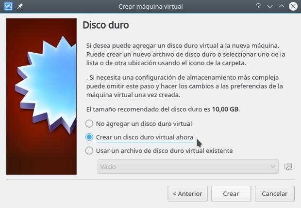 instalar gnu/linux con virtualbox, disco duro