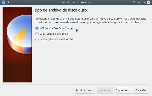 instalar gnu/linux con virtualbox, tipo de archivo de disco duro