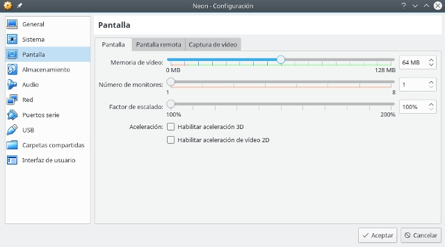 configurar virtualbox, pantalla
