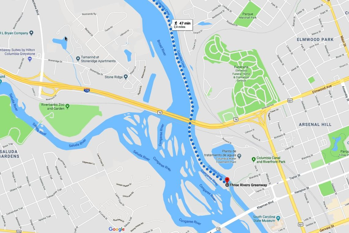 mapa de situacion de three rivers greenway