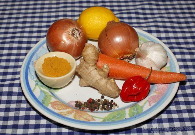 algunos igredientes, condimentos y especias de un Yassa