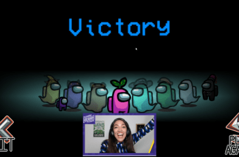 AOC celebrates a victory in Among Us during her Twitch stream