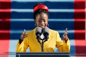 American poet Amanda Gorman reads a poem during the 59th Presidential Inauguration