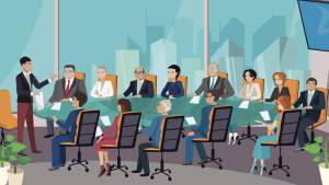 Illustration showing a group of executives in a meeting.